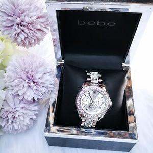 bebe Women's Silver Bling Rhinestones Watch